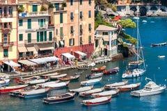 Łodzie i kolorowi domy Portofino Fotografia Stock