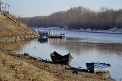 Łodzie i pontony na rzecznym Borcea Obraz Royalty Free
