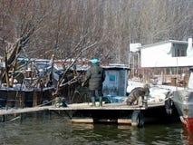 Łodzie i rzeka pontony Obraz Royalty Free