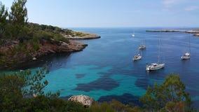 Łodzie, Ibiza, blisko Portinax Zdjęcia Stock