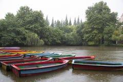 Łodzie, jezioro i roślina przy padać dzień, Zdjęcie Royalty Free