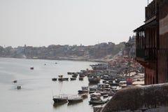 Łodzie na Ganga rzece Zdjęcie Royalty Free
