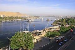 Łodzie na Nil rzece, Aswan Obraz Royalty Free