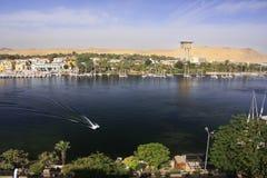 Łodzie na Nil rzece, Aswan Zdjęcie Royalty Free