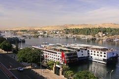 Łodzie na Nil rzece, Aswan Fotografia Stock