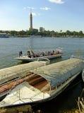 Łodzie na Nil rzece, Kair Obraz Stock