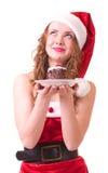 odzieżowa Claus tortowa dziewczyna Santa smakowity Zdjęcie Royalty Free
