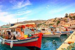 Łodzie rybackie na Greckiej wyspie Symi Zdjęcia Royalty Free