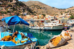 Łodzie rybackie na Greckiej wyspie Symi Obrazy Royalty Free