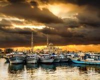 Łodzie rybackie przy portem Hurghada, Hurghada Marina przy zmierzchem Obraz Stock
