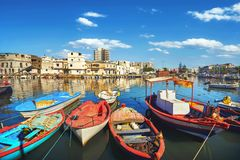 Łodzie rybackie przy starym portem w Bizerte Tunezja, afryka pólnocna Obrazy Royalty Free