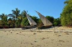 Łodzie rybackie w Unguja wiosce Ukuu, Zanzibar Obraz Stock