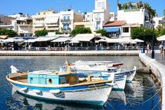 Łodzie w Agios Nikolaos schronieniu, Crete Obraz Royalty Free