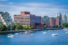 Łodzie w Charles budynkach w Cambridge i rzece, w Boston Fotografia Royalty Free