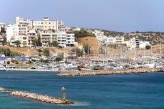 Łodzie w schronieniu, Agios Nikolaos, Crete, Grecja Obrazy Royalty Free
