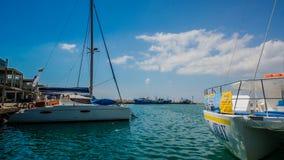 Łodzie w schronieniu, Limassol, Cypr Obrazy Royalty Free