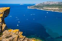 Łodzie w zatoce Cote d ` Azur Fotografia Royalty Free