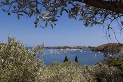 Łodzie w zatoce w Portlligat fotografia royalty free