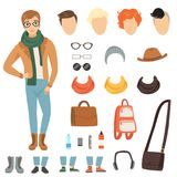 Odziewać modny facet Kreskówka męski charakter z różnorodnymi mod akcesoriami i odziewa royalty ilustracja