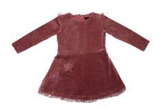 Odziewa dla dzieci Piękny wałkoni się aksamit suknię z koronką dla dziewczyny odizolowywającej na białym tle Dziecko moda zdjęcia stock