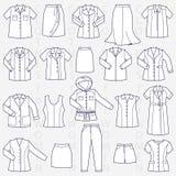 Odziewa dla kobiety liniowej ilustraci Fotografia Royalty Free