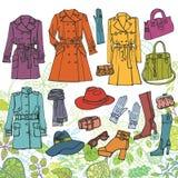 odziewa moda set Wiosny kobiety odzież, zieleń ilustracja wektor