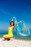 odziewa ubierającego przesłony kobiety kolor żółty Zdjęcia Stock