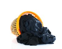 Odziewa w plastikowym koszu Obraz Stock