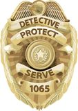 odznaka ścinku ścieżka detektywa ilustracja wektor