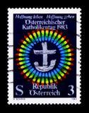 Odznaka, Katolicki dnia seria około 1983, Obraz Stock