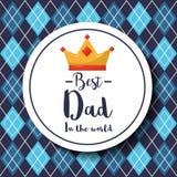 Odznaka najlepszy tata w światowym korony argyle wzoru tle Zdjęcia Royalty Free