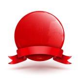 Odznaka okrąg z czerwonym faborkiem royalty ilustracja
