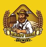 Odznaka projekt mężczyzna przedstawienie jego piwo w drewnianym kubku royalty ilustracja