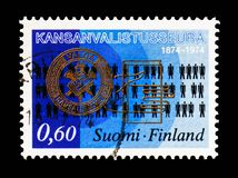 Odznaka społeczeństwo, symbole, 100 rok społeczeństwa dla Popularnej edukacji seria około 1974, obraz stock