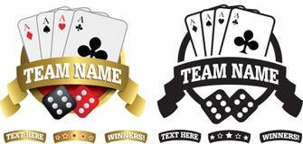 Odznaka, symbol lub ikona na bielu dla, kart, kostka do gry i uprawiać hazard, Zdjęcie Royalty Free