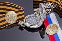 Odznaka uderzająca przy Petersburg mennicą dla zwycięstwo dnia i po Zdjęcie Royalty Free