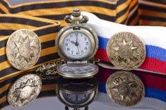 Odznaka uderzająca przy Petersburg mennicą dla zwycięstwo dnia i po obrazy stock