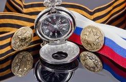 Odznaka uderzająca przy Petersburg mennicą dla zwycięstwo dnia i po Zdjęcia Royalty Free