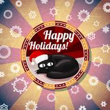 Odznaka z ślicznym kotem w Santas kapeluszu, i - Szczęśliwy ilustracja wektor