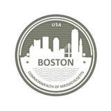 Odznaka z Boston linią horyzontu - Boston miasta emblemat Obrazy Stock