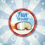 Odznaka z snowboarders lub narciarek gogle, - zabawa obraz royalty free