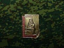 Odznaka z wizerunkiem i «Novorossiysk «wpisowy «- zabytek żeglarzi rewolucja « obrazy stock