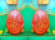 Odzwierciedlający kolorowy estrowy jajka tło obraz royalty free