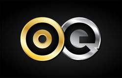 Gold silver letter joint logo icon alphabet design Stock Photography