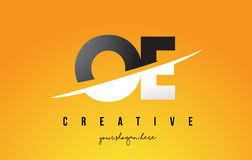 OE O E Letter Modern Logo Design with Yellow Background and Swoo Royalty Free Stock Images