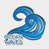 Oean waves with cute shapes design. Vector illustration Royalty Free Stock Photo
