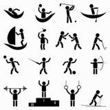 Oefening, geschiktheids, gezondheids en gymnastiekpictogrammen vectorillustratie Stock Fotografie