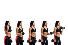 Oefening met domoren op de bicepsen Stock Fotografie