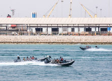 Oefeningen van mariene afdeling van Saoedi-arabische Grenswacht Stock Foto's