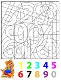 Oefeningen voor kinderen - moet de verborgen aantallen vinden en hen schilderen in relevante kleuren Royalty-vrije Stock Foto's